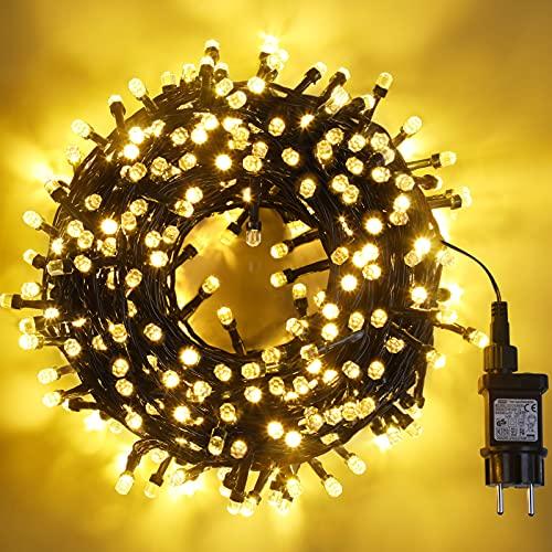 Avoalre Luci Natale Esterno 500 LEDS 50M, Catena Luminosa 8 Modalità Impermeabile iP44 Luci LED Albero di Natale Decorative per Esterno Interno Festa Nozze Camera Giardino, Bianco Caldo