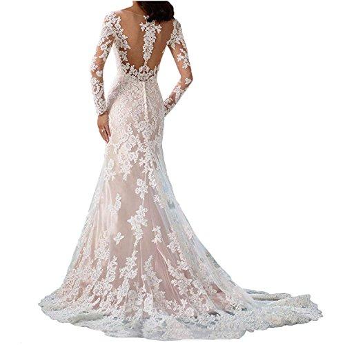 Nanger Damen Lange Meerjungfrau Spitze Hochzeitskleider mit Ärmel Brautkleider Champagner 42