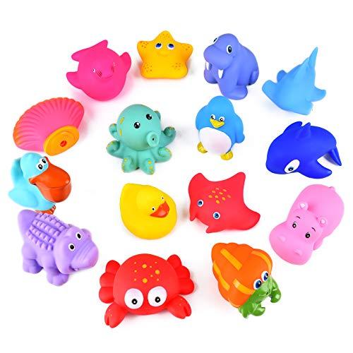 Miavogo Baby Badespielzeug, 15 Stück Badewannenspielzeug Set Kinder Spritztiere Schwimmend Wasserspielzeug Pool Bade Spielzeug für Mädchen Junge Kleinkind ab 9 Monaten