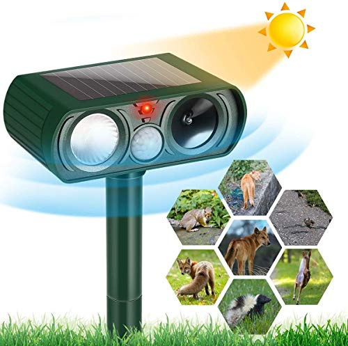 ARESAT Cat Repellent, Solar Waterproof Ultrasonic Animal Deterrent, Motion Sensor Farm for Garden and Flashing Lights, Foxes, Birds, Skunks