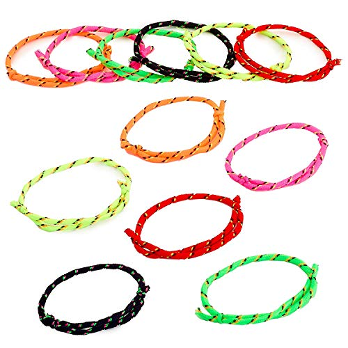 Kicko Neon Rope Friendship Bracelets - 12 Pack -Assorted Color - Personal Wear, Fashion Accessories, Party Supply, Decoration, Novelty Item, Carnival Prize