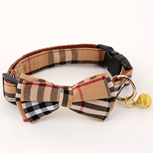 ADPET Dog Collar with Bell & Cute Plaid Bowtie