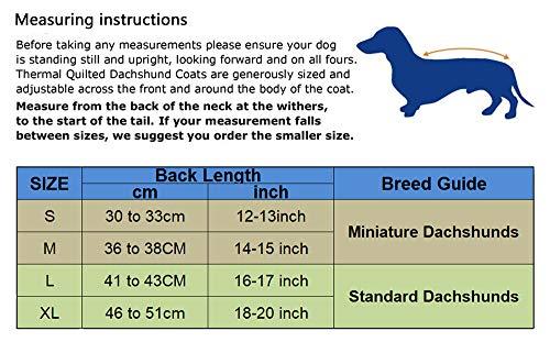 Geyecete Warmer Thermo-Hundemantel mit Dackel-Motiv, Warmer Fleece-Futter, für den Außenbereich, mit verstellbaren Bändern für kleine, mittelgroße und große Hunde - 7