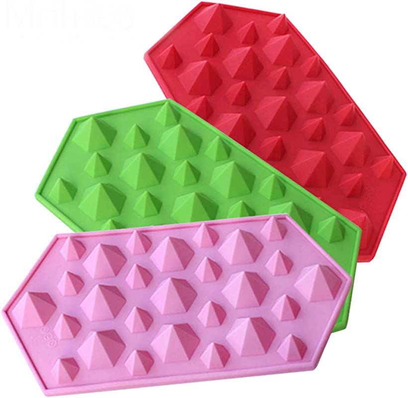 3D Diamonds Gem Cool Ice Cube Tray Silicone Chocolate Candy Mold Party Maker 3 Pack
