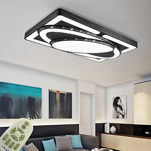 BRIFO 78W LED Deckenleuchte Dimmbar, Modern Lampe Design, Deckenlampe für Flur,Wohnzimmer, Küche,Büro, Energie Sparen Licht, Dimmbar (3000-6500K) Mit Fernbedienung (Schwarz, 78W)