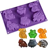Forest Animals Silicone Mold - MoldFun Squirrel Frog Fox Turtle Owl Hedgehog Tray for Ice Cube, Jello, Cookie Muffin Cake Baking, Chocolate, Soap, Lotion Bar, Wax, Clay, Crayon, Plaster, Concrete