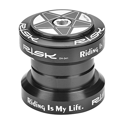 Fahrrad Steuersatz 1 1/8 Zoll Ahead 34mm, Fahrrad Gewinde Headset Gewindeloses Steuersatz Bicycle Threadless Headset Aluminiumlegierungs-Fahrrad-Lager-Kopfhörer für 28.6mm Gerades (Schwarz)
