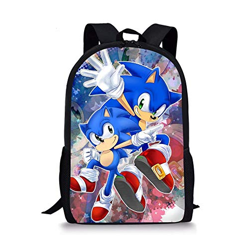 Sonic School Bag Cool Backpack Sonic Pattern Kids School Bags Cartoon The Hedgehog Design Boys and Girls Mochila Book Bags