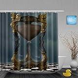 Honeytecs Cortinas de Ducha,Reloj de Arena gótico Oro ajedrez, Cortina de Baño Material de poliéster Resistente al Agua con Ganchos 180 * 200cm