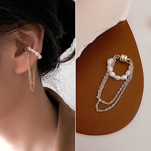 Magnetic Pearl Ear Clip,Non-Pierced Clip On Cartilage Earrings for Women Girls (Style6)