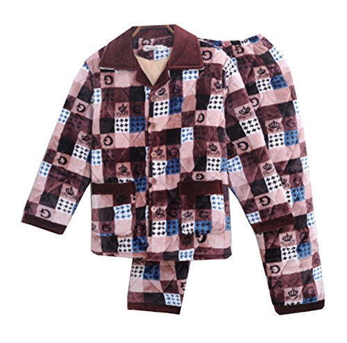 Dragon Troops Sistema de Pijama de Terciopelo de Franela de Invierno Espesada de los Hombres del Invierno, salónwear y Ropa de Dormir, A9
