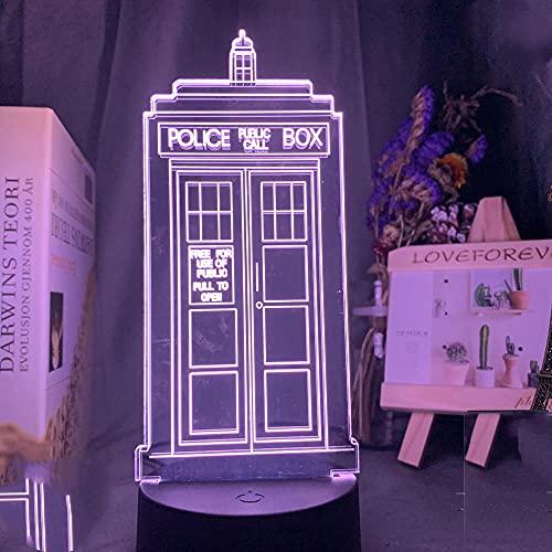 3D Optical Led Night Light Lamp Doctor,Who Call Box Luz Nocturna Para Niños Dormitorio Decoración Caja de Policía Regalo,Habitación Infantil Lámpara de Mesa LED Luces Nocturnas