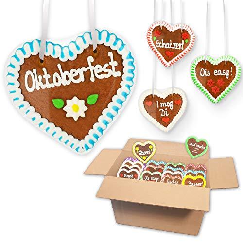 20x Lebkuchen Herz im Mischkarton 12cm - versch. Oktoberfest Sprüche | Kleine Lebkuchenherzen Wiesn Herz aus Lebkuchen Oktoberfest Lebkuchenherz von LEBKUCHEN MARKT