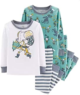 Toddler Boys 4 Pc Pajama PJs Sleep Play Sleep Snug fit Cotton Wooden Horse Good Knight