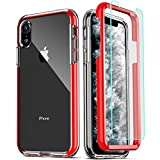COOLQO Compatible for iPhone XR Case, with [2 x Tempered Glass Screen Protector] Clear 360 Full Body Coverage Hard PC+Soft Silicone TPU 3in1 Heavy Duty Shockproof Defender Phone Protective Cover Red