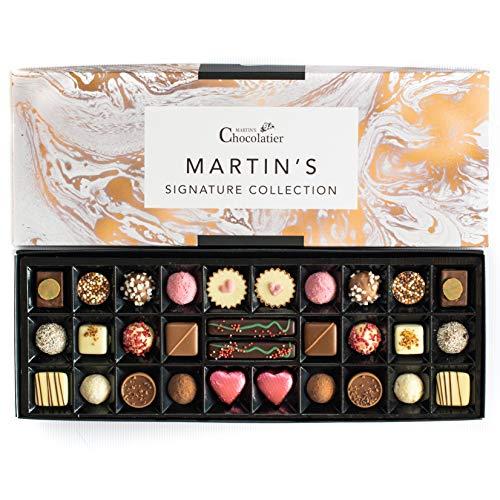 Martins Chocolatier Signature Collection Schokoladengeschenk-Set – 30 handgefertigte Pralinen – 15 Schokoladengeschmäcker – Schokoladengeschenk zum Valentinstag