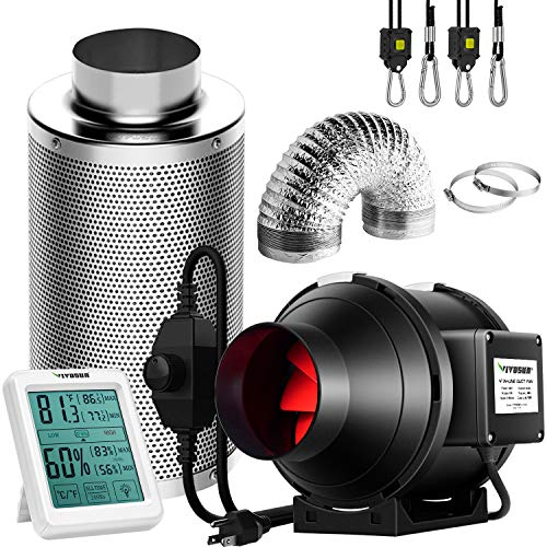 VIVOSUN 4 Inch 190 CFM Inline Fan with Speed Controller, 4 Inch Carbon Filter and 8 Feet of Ducting, Temperature Humidity Monitor for Grow Tent Ventilation