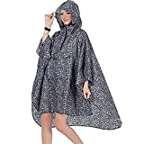 A1-Brave Chubasquero Poncho de Randonnée Vierta Hommes en Polyester Impermeable Vierta Femmes Reutilizable (Color : Black Leopard, Size : One Size)