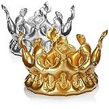 com-four® 2x corona inflable en plata y color dorado - disfraz de rey - disfraz de reina - accesorios de vestuario ideales para Mardi Gras, Carnaval, Halloween y JGA (02 piezas - corona)