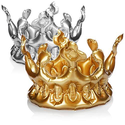 com-four® 2x Aufblasbare Krone in silberfarben und goldfarben - König-Kostüm - Königin-Kostüm - Kostümzubehör ideal für Fasching, Karneval, Halloween und JGA - Geburtstagskrone (02 Stück - Krone)