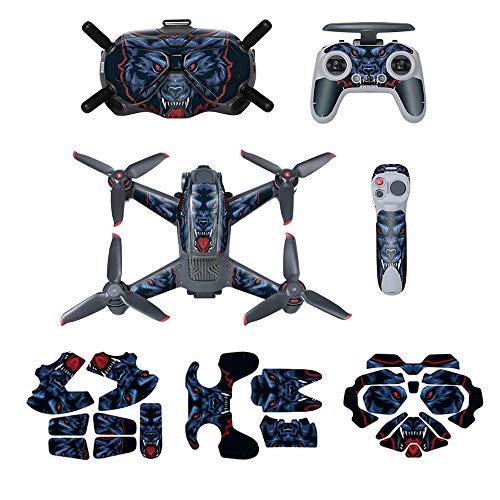O'woda Adesivi per DJI FPV Combo: PVC Sticker per FPV Drone Corpo + Goggles V2 + Telecomando 2 + Controller di Movimento, Impermeabile AntiGraffio Decorazione Pattern Skin Pellicola Protettiva (Blu)