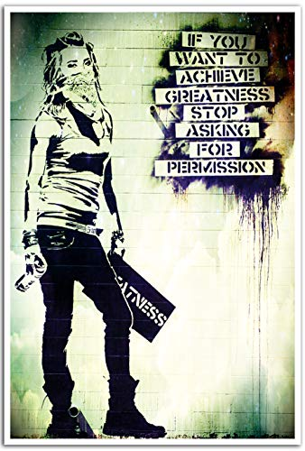Banksy If You Want To Achieve Greatness Poster | Inspirational Street Art Poster | 18-Inches By 12-Inches | Unique Satirical Street Art Print | Premium Quality 100lb Gloss Poster Paper | JSC123