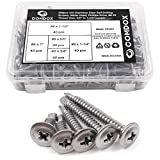 comdox 200-pack selbst Bohren Schrauben Set, 410Edelstahl, Wafer Head Phillips Tabelle Metall Tek...