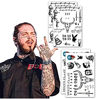 Leoars Face Temporary Tattoos Face Neck Hands Arm Tattoos Sticker Fake Tattoos for Adults Men Women Girls Kids Halloween Parties,4-Sheet