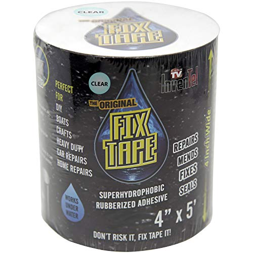 The Original Fix Tape (As Seen On TV), Rubberized Waterproof Tape, Boat Repair (Clear, 4 inches x 5 feet)