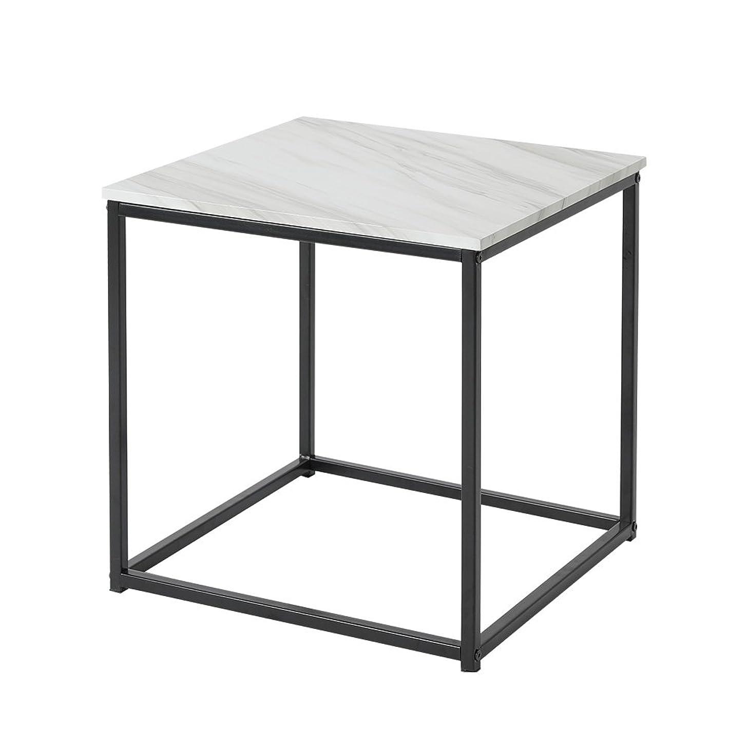 準備するせっかちチキンルームアンドホーム テーブル キューブ ノルディック マーブルブラック 46×46×46cm