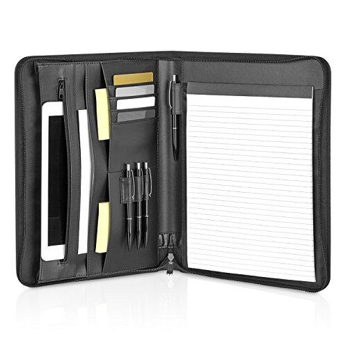 GOODMAN Wallstreet Schreibmappe Leder A4 mit Reißverschluss und Tablet, Laptop Fächern – schwarze elegante Dokumentenmappe – Business Organizer aus Kunstleder