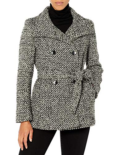 Calvin Klein Womens Petite Sized Double Breated Wool Coat, WB1, 12P