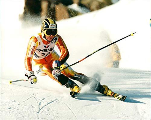 Esquiador alpino esloveno Katja Koren Miklavec - Foto de prensa vintage