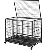YAHEETECH 43-inch Heavy Duty Metal Pet Dog Cage Crate for The House Indoor Outdoor for Small/Medium/Large Dogs w/Double Doors & Locks & Double Tray & Lockable Wheels Black