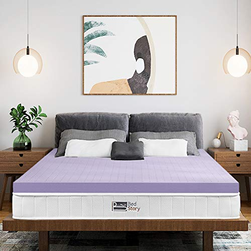 BedStory 3 Inch Lavender Memory Foam Mattress Topper Twin, Pressure Relief Bed Topper for Back Pain, Mattress Pad with Ventilated Design, Removable Hypoallergenic Cover, CertiPUR-US