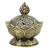 Brûle-Encens Lotus Encensoir Vintage Mini Brûleur d'Encens Bouddha en Alliage Bronze Brûleur à Arôme Support Poêle Bol BoîteFumée d'Encens Cadeaux d'Anniversaire/Noël Décoration de Bureau et Maison