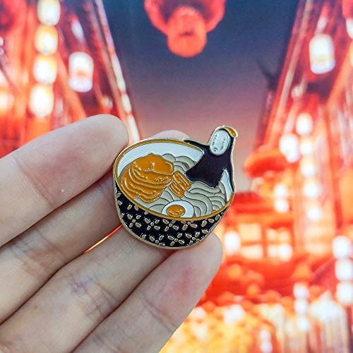 TZZD Japanische Anime Nudeln Emaille Pin japanische Nudeln Cartoon Ramen Anime Broschen Denim-Hemd-Revers-Stifte Badge Schmuck Geschenke