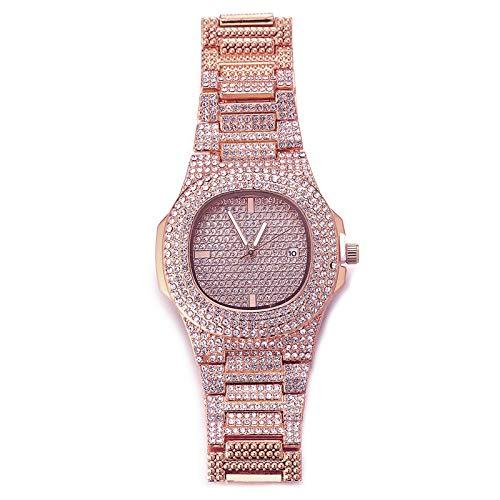 Halukakah Reloj de Oro Hombres Iced out,Chapado en Oro Rosa de 18k Pulsera de Cuarzo 9.5'(24cm),Cz Completo Diamante de Laboratorios,Gratis Caja de Regalo