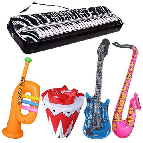 Tomaibaby Aufblasbares Musikspielzeugset 5 Stück Aufblasbare Instrumentengitarre Klavier Trompete Trommel Saxophon Aufblasbares Rockspielzeug Party Requisiten für Kinder Kinder