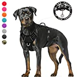 BARKBAY Dog Harness Large Step in Reflective Dog Harness with Front Clip and Easy Control Handle for Walking Training Running with ID tag Pocket(Black,XL)