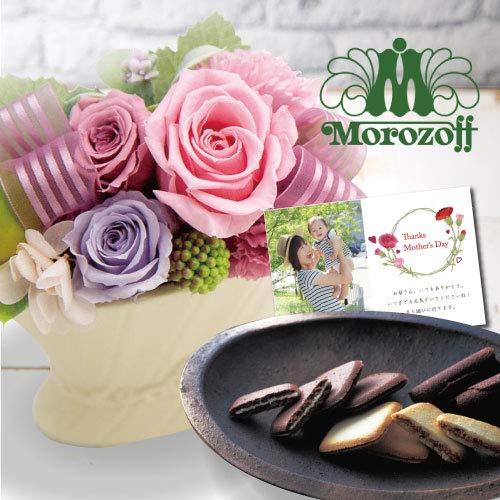 母の日 誕生日 花 プリザーブドフラワー バラ アレンジ ピンク と モロゾフ 洋菓子 詰め合わせ ギフト セットプレゼント お祝い 退職祝い 結婚祝い 内祝い 全国配送 flower gift mother's day (DB)