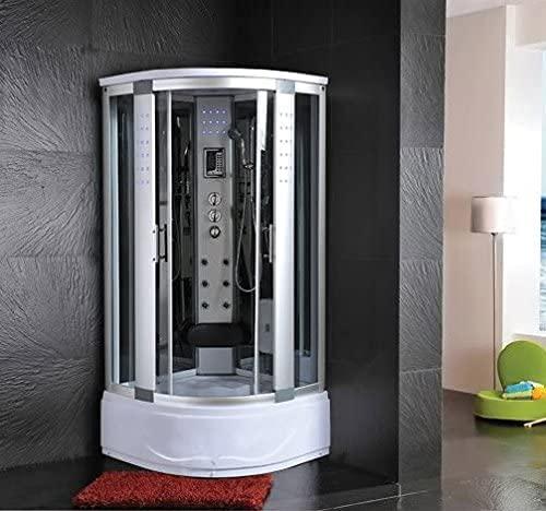 Cabina de hidromasaje con bañera 80 x 80 cm semicircular cabina con baño turco masaje plantar luces LED /1