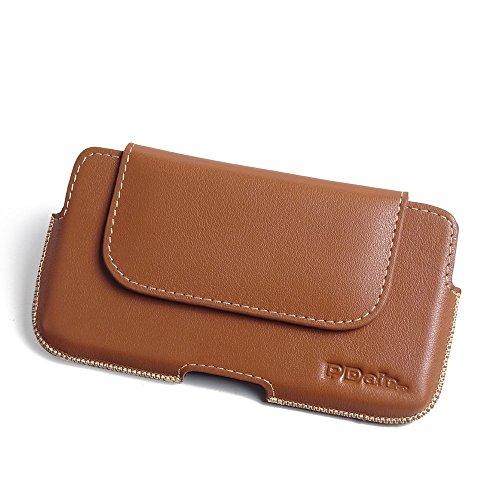PDAir HTC Desire 650 Leder Tasche Hülle (Braun), Echtleder Handyhülle, Tasche mit Gürtelclip Halfter, Prämie Tasche Für HTC Desire 650