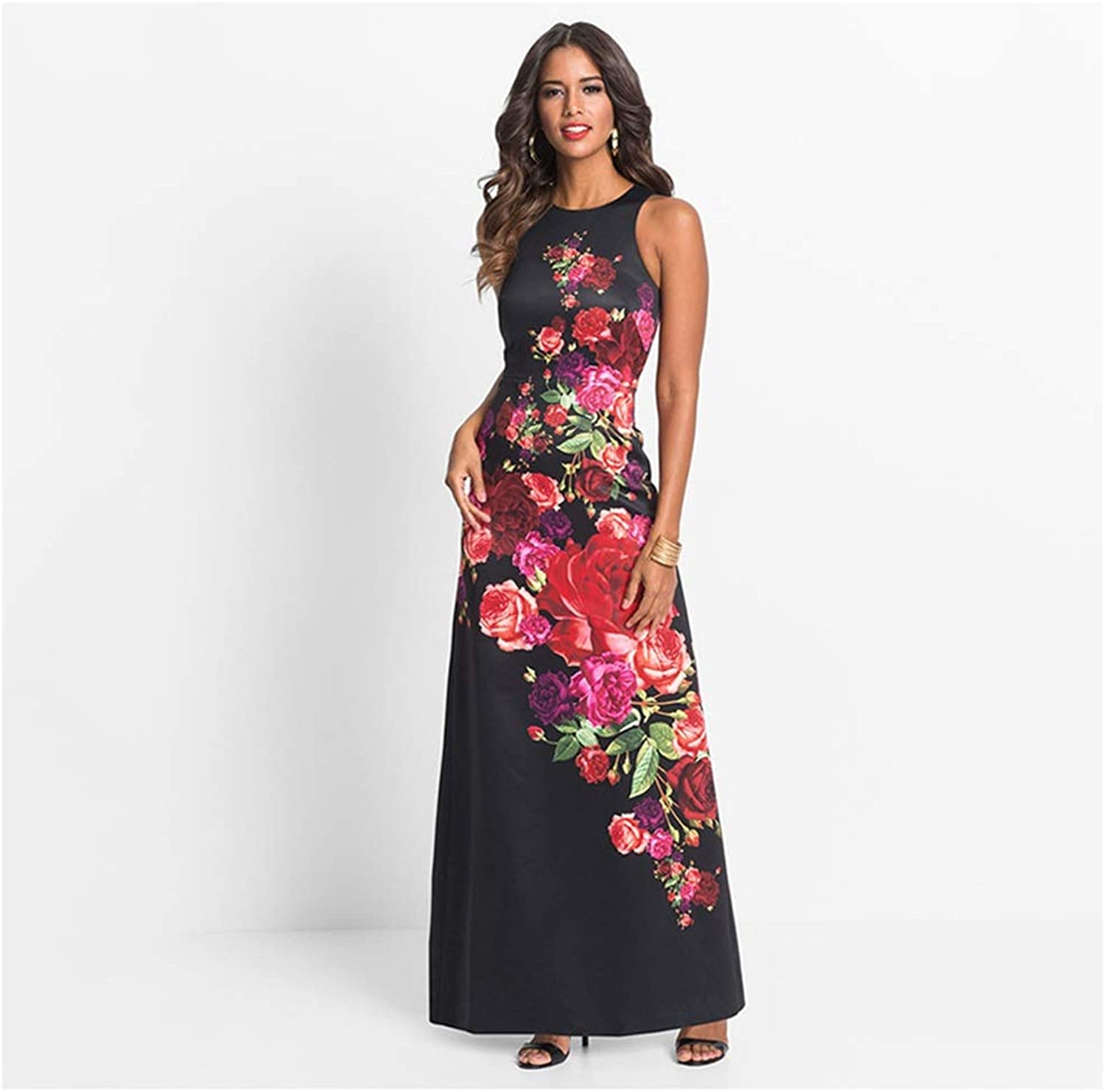 CARRY Dress, Europe and America, Comfortable and Soft Ladies Cocktail Dress Vest Waist Dress Print Dress (Size   XL)