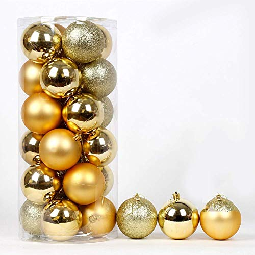 LIUSHI 24ct Christmas Ball Ornaments Shatterproof Christmas Decorations Tree Balls Small for Holiday Wedding Party Decoration-Gold 6cm(2inch)