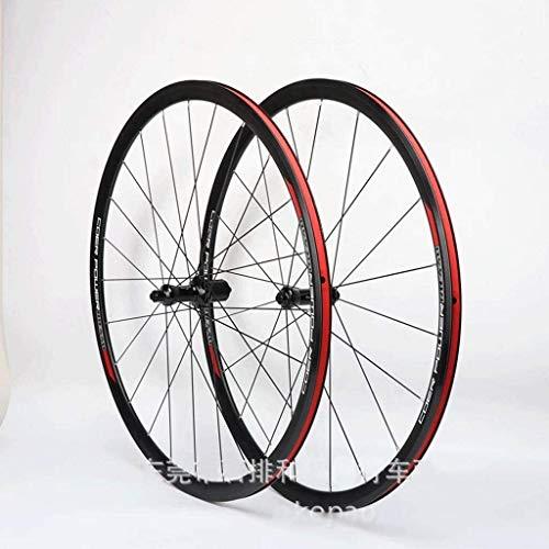 BZLLW Fahrrad-Rad, CX Rennrad Laufradsatz 700C Fahrrad-Rad-Double Wall Felge 30mm Felgenbremsen gedichtetes Lager QR for Card Hub 8-11 Geschwindigkeit (Color : Black)