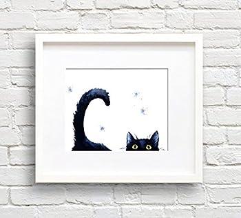 Sneaky Black Cat Watercolor Cat Art Print by Artist DJ Rogers