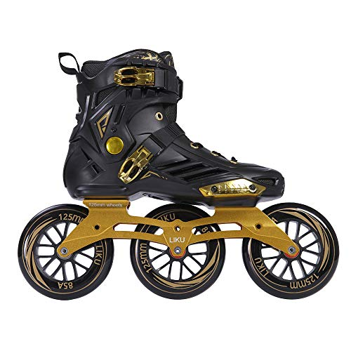 LIKU Performance 125 3WD Speed Inline Skates Unisex Black&Gold