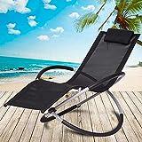 ZCYY Sillón reclinable, cómodo sillón Mecedora Reposabrazos de Tumbona Respaldo reclinable de Aluminio, cómodos Patines ovalados