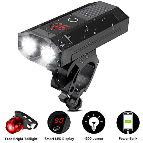 SEWOBYE Fahrradlicht Set mit LED Anzeige, USB Wiederaufladbare Fahrradlicht Vorne und Fahrrad Rücklicht, Fahrradbeleuchtung 5 Modi für Mountainbike, Elektrofahrrad